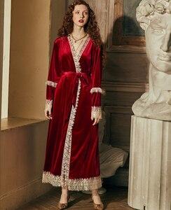 Image 5 - Conjunto de robe romântico para mulheres, camisola de inverno, vestido de noite, roupa de noiva elegante, vermelho, vintage