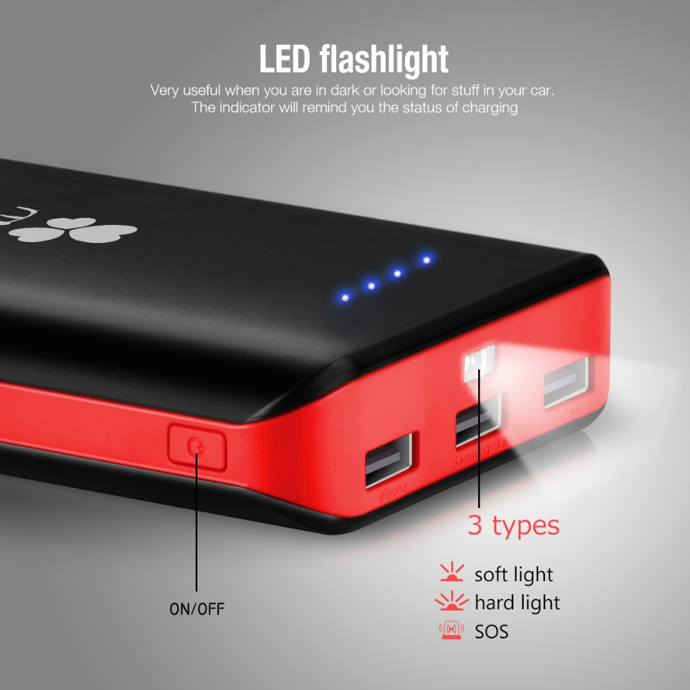 Ec Technology Power Bank 20000mah High Capacity 3 Usb Port