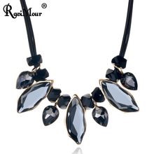 RAVIMOUR Women Necklace Geometric Crystal Statement Chokers PU Leather Maxi Necklaces & Pendants Fashion Jewelry Collier Femme