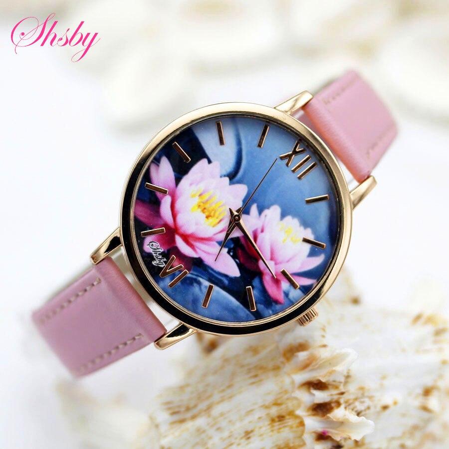 Shsby Brand Leather Strap Analog Display Women Dress Watch Fashion Flower Casual Quartz Watch Ladies WristWatch Relogio Feminino