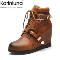 KarinLuna Top Quality Fashion Genuine Leather Buckle Women Shoes Woman Shoelaces Casual Ankle Boots Woman Height