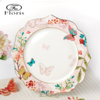 11 inch Butterfly Ceramic Dinner Plate Porcelain Dessert Snack Cake Dishes for Kitchen Decor Gift Free Shipping