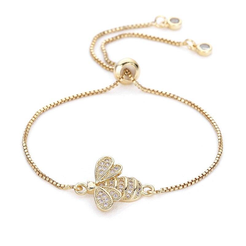 Mignon cubique zircone abeille charme bracelets pour Femme or chaîne cristal Bracelet réglable Animal Femme bijoux Femme MBR180086