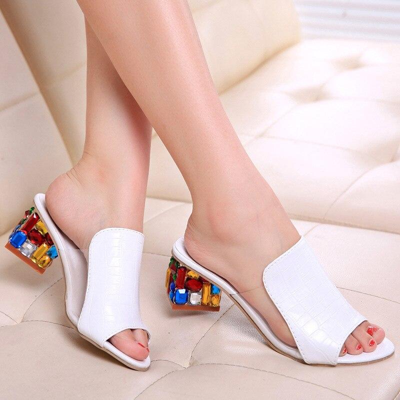 Sandalias de tacón de moda para Mujer zapatos planos de flores elegantes Sandalias de Punta abierta PU tacones cuadrados coloridos zapatos casuales de Mujer