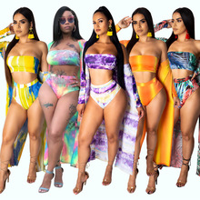 Inpugoz Sexy Print Strapless Backless Swimsuit Full Sleeve Coat Beach Bikini Women