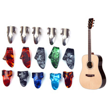 Box of 15PCS Celluloid Steel Celluloid Thumb Finger Guitar Picks Nail Picking Guitar Plectrums Musical Instrument Hot Sale