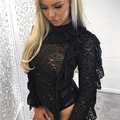 Europe 2017 spring women's new fashion sexy bodysuit women lace flower hollow out black overall playsuits long sleeved romper