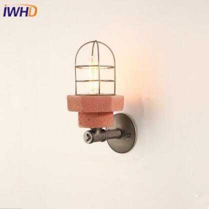 IWHD Loft Vintage LED Wall Lamp Cement Industrial RH Wall Light Iron Water Pipe Fixtures For Home Lighting Lamparas De Pared iwhd iron water pipe loft led wall lamp rh retro industrial vintage wall light bedside fixtures home lighting indoor luminaire
