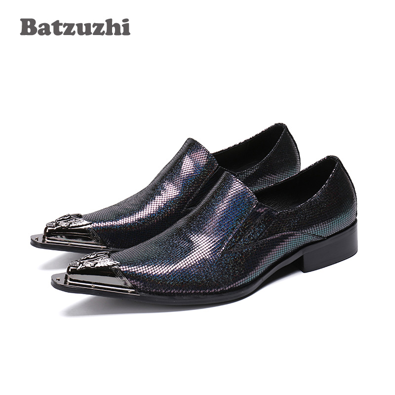 Batzuzhi Luxury Zapatos Hombre Mens Shoes Pointed Metal Tip Leather Shoes Formal Business Party Dress Shoes Men, Big Sizes US12