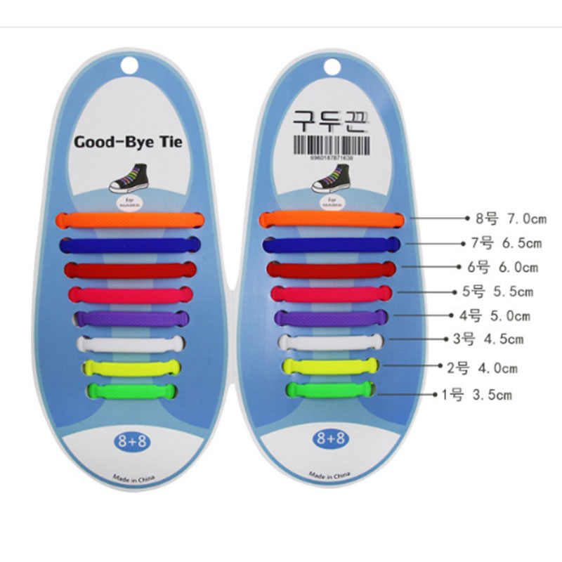 16 шт./партия, силиконовые шнурки, эластичные шнурки для обуви, специальные шнурки без галстука для мужчин и женщин, шнуровка, резина, Zapatillas, 13 цветов