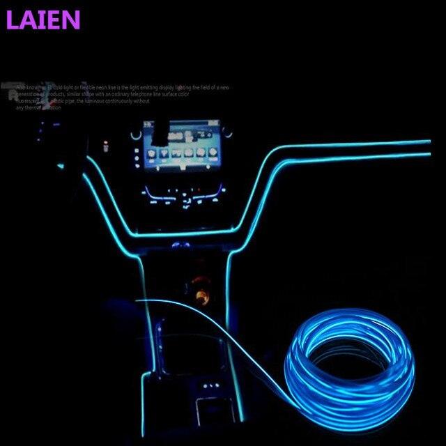 Universal 2.3mm 3 M 10 Cores Estilo Do Carro Flexível Neon luz da Corda de Fio EL Decoração Do Carro Tira com Controlador Livre grátis