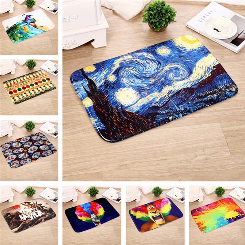 Oil Painting Pattern Carpet 40*60cm Door Mat Microfiber Anti-Slip Mat Clean Mat Washable Doormat Carpet For Home Decoration