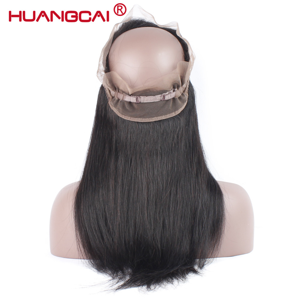 HuangCai Pre Plucked 360 Lace Frontal Closure With Baby Hair One Bundle Malaysian Straight Hair Closure