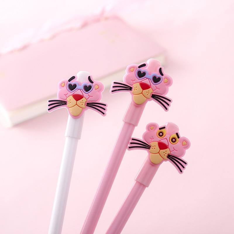 1 Pcs Kawaii Pen Cartoon Pink Panther Plastic Gel Pen 0.5mm Cute School Office Signature Neutral Pens Escolar Stationery