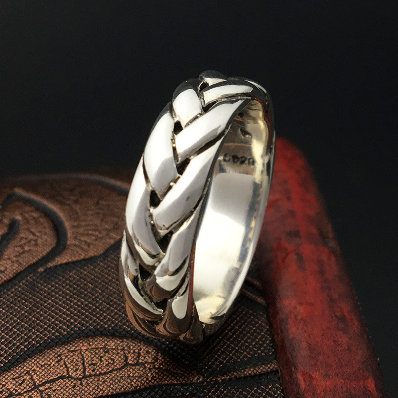S925 Sterling Silver Jewelry Handmade Retro Thai Silver Personalized Ring Men 's Style Twist Ring