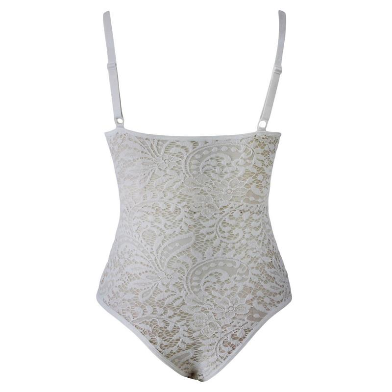 ADEWEL Sexy Women Spaghetti Strap Lace Bodysuit See Through Skinny Body Jumpsuit Ladies Romper Combinaison Shorts Playsuits (8)