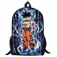 17 Inch Anime Dragon Ball Super Backpacks For Teenage Boys Cool Saiyan Sun Goku Vegeta Printing