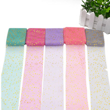 6cm*5m Gold Stars Tulle Roll Spool  Wedding Decoration Hair Accessories Baby Shower DIY Craft Transparent Ornament