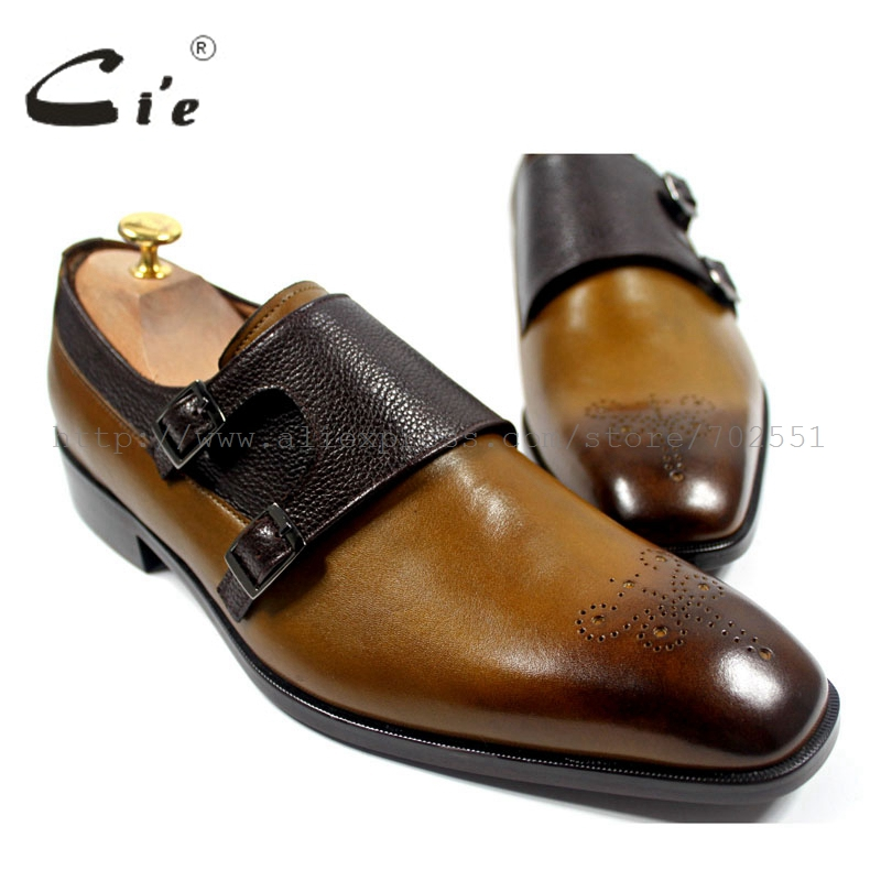 cie Square Toe Cut-outs Hand-painted Brown Calf Leather Matching Pebble Grain Double Monk Straps Leather Bottom Outsole MS24 cie round toe wing tips single monk straps hand painted brown 100%genuine calf leather breathable bottom outsole men shoems129