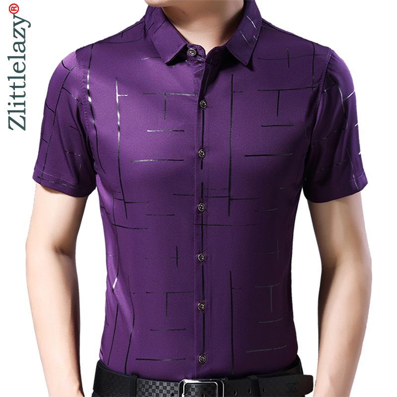 2019 Brand Casual Summer Luxury Striped Short Sleeve Slim Fit Men Shirt Streetwear Social Dress Shirts Mens Fashions Jersey 4162