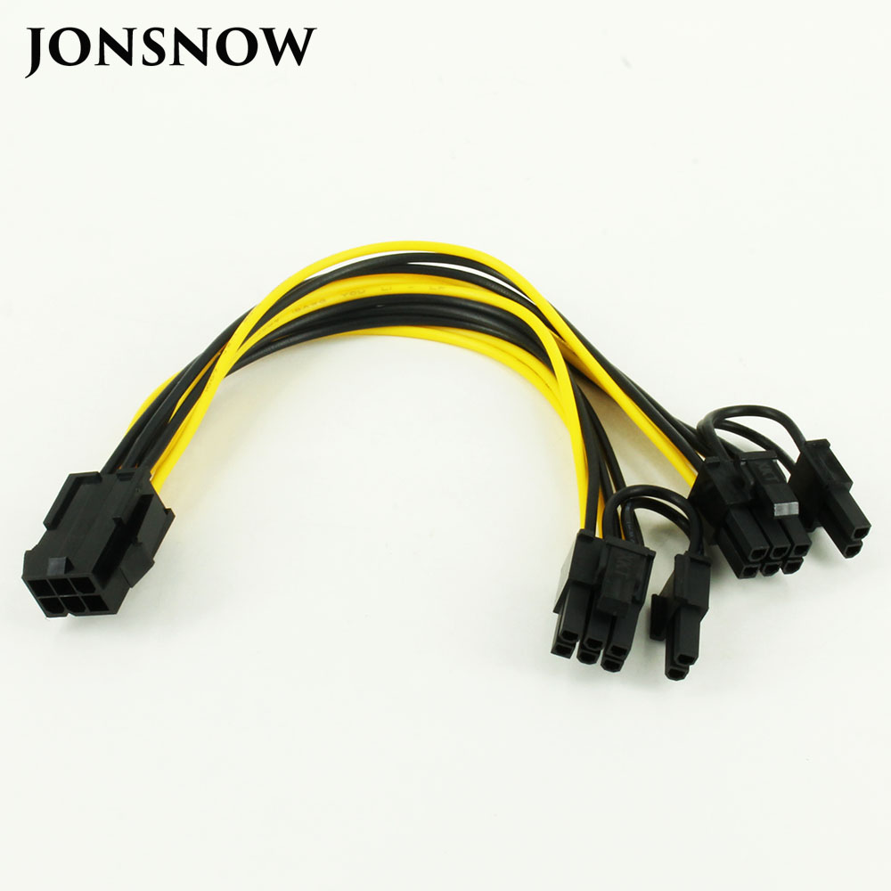 CPU 6 Pin To Graphics Video Card PCI Express Power Splitter Cable 6Pin Female Double 8Pin Male 20cm 5pcs lot cpu 8pin female to dual pci e pci express 8p 6 2 pin male power cable 18awg wire for graphics card btc miner 20cm