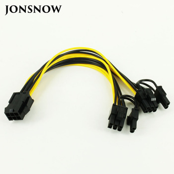 CPU 6 Pin To Graphics Video Card PCI Express Power Splitter Cable 6Pin Female Double 8Pin Male 20cm dhl ems free shipping pci e 8 pin 8p male to pci express dual double 2 port 8pin female gpu video card power cable 18awg