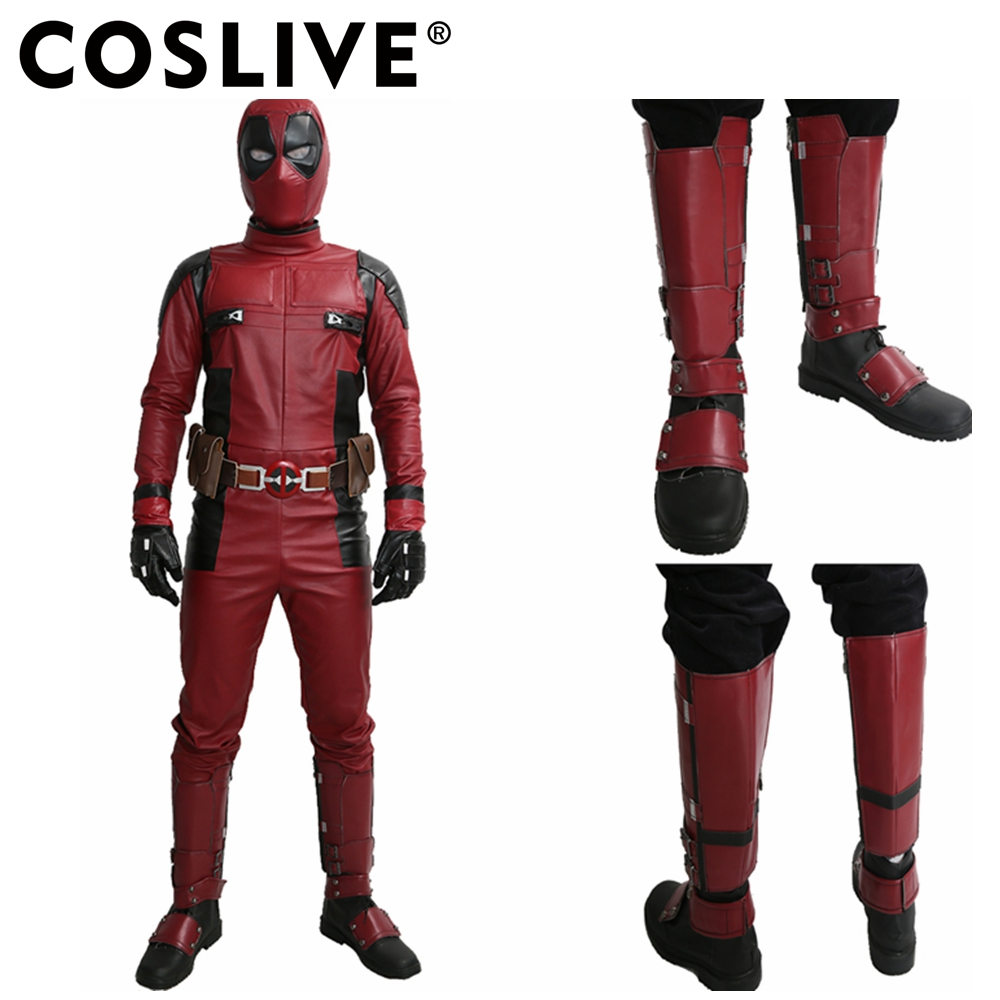 Coslive Deadpool Shoes Marvel Movie Cosplay PU Adult Deadpool Shoes with Side Zipper Knee High Boots Covers For Men Adult