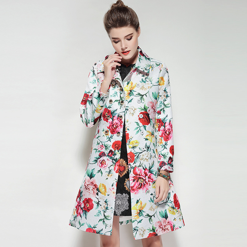Micosoni Trench-Coats Runway Embroidery Rose-Print Long-Sleeved Autumn Fashion Women