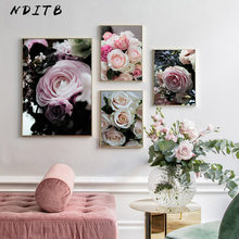 Pink Rose Flower Botanical Poster Scandinavian Canvas Art Decorative Print Wall Painting Nordic Style Picture Living Room Decor(China)