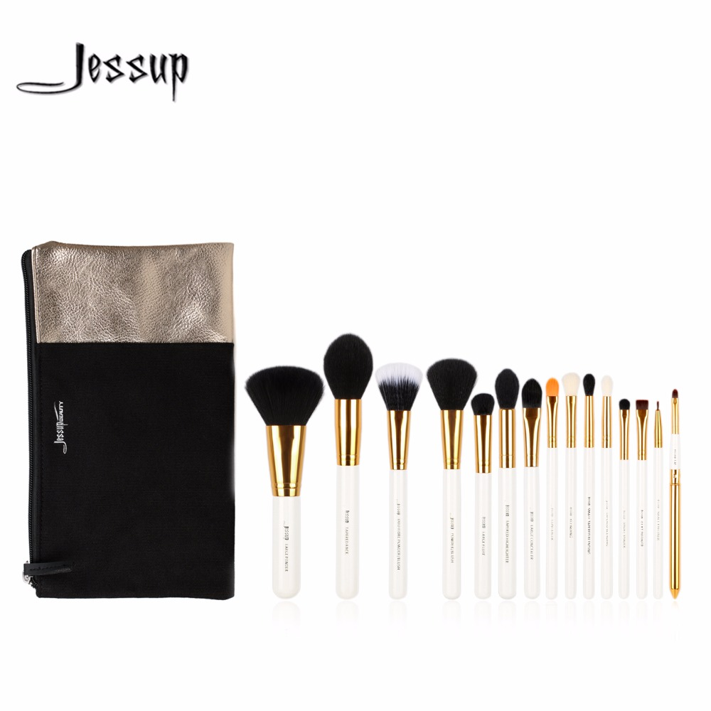 Jessup brushes 15pcs Beauty Makeup Brushes Set Brush Tool White and Gold Cosmetics Bags T103&CB002 jessup brushes 15pcs beauty makeup brushes set brush tool black and white cosmetics bags t115