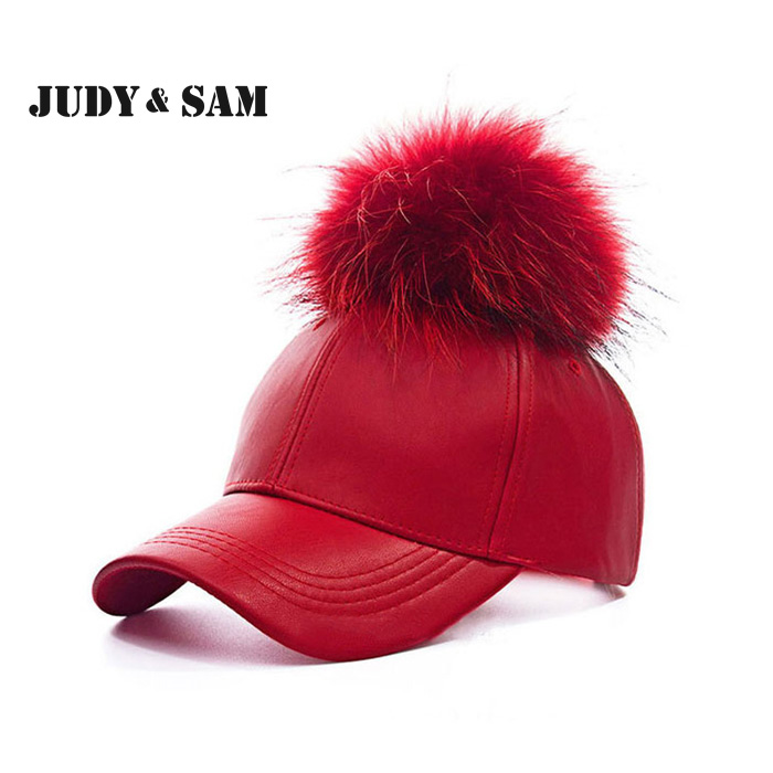 2016 New Real Fur Pom Pom Snapback for women Spring Candy Cos