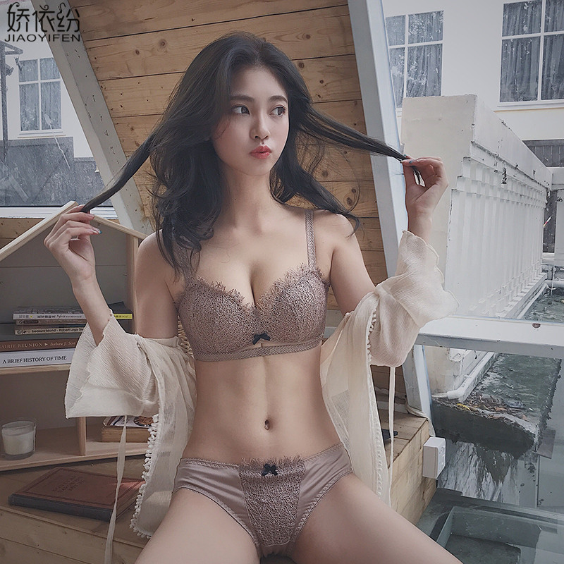 Fashion Sexy Lace Comfortable Wire-Free Underwear Eyelash Embroidery Push Up   Bra     Set   Small Chest Women   Bra   and Panty Lingerie