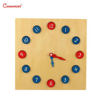 цена Educational Math Toys Clock 12 Numbers Wooden Blue Red Removable Teaching Toy Game Montessori Materials Wooden онлайн в 2017 году