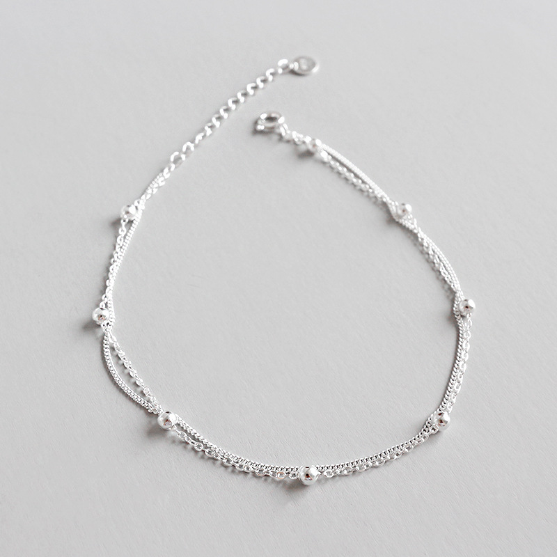 Details about  /Multi Layer Chain Anklets with Small Beads 925 Sterling Silver Fashion for Woman