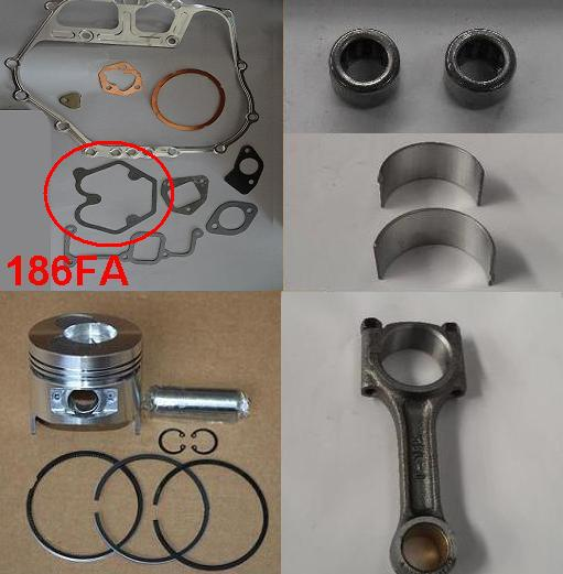 Fast Shipping Diesel engine 186FA Piston pin ring gasket connecting rod bearing chinese brand suit for