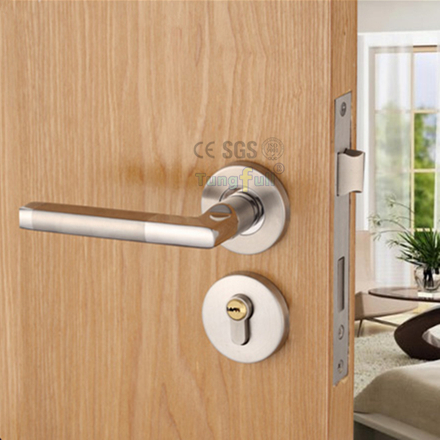 Buy Stainless Steel Wire Drawing Interior Door Handle Locks Wood Door Simple