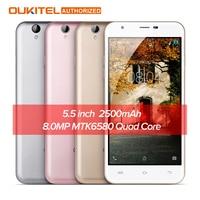 Oryginalny Oukitel MTK6580A U7 MAX 5.5 Cal Smartfon Ekran HD Quad Core 1G + 8G 8MP Kamera 2500 mAh 3G WCDMA Telefon Komórkowy W zdjęcie