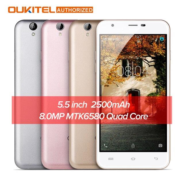 Оригинальный Oukitel U7 Max 5.5 дюймов смартфон hd Экран MTK6580A 4 ядра 1 г + 8 г 8MP Камера 2500 мАч 3 г WCDMA телефона в наличии