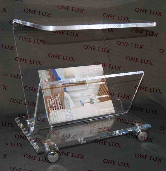 Rolling Acrylic magazine side table Cart,Lucite coffee table on wheels ONE LUX hot sale c shaped waterfall acrylic occasional side table