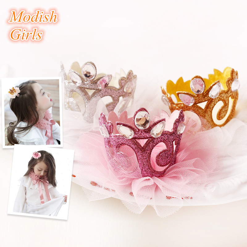 Top Quality 20pcs/lot Girls Felt Barrettes Tiara Side Hair Clip Princess Crown with Glitter Tulle Gold Silver Hair Clip gold quality ce standard 900 600mm felt cutting machine