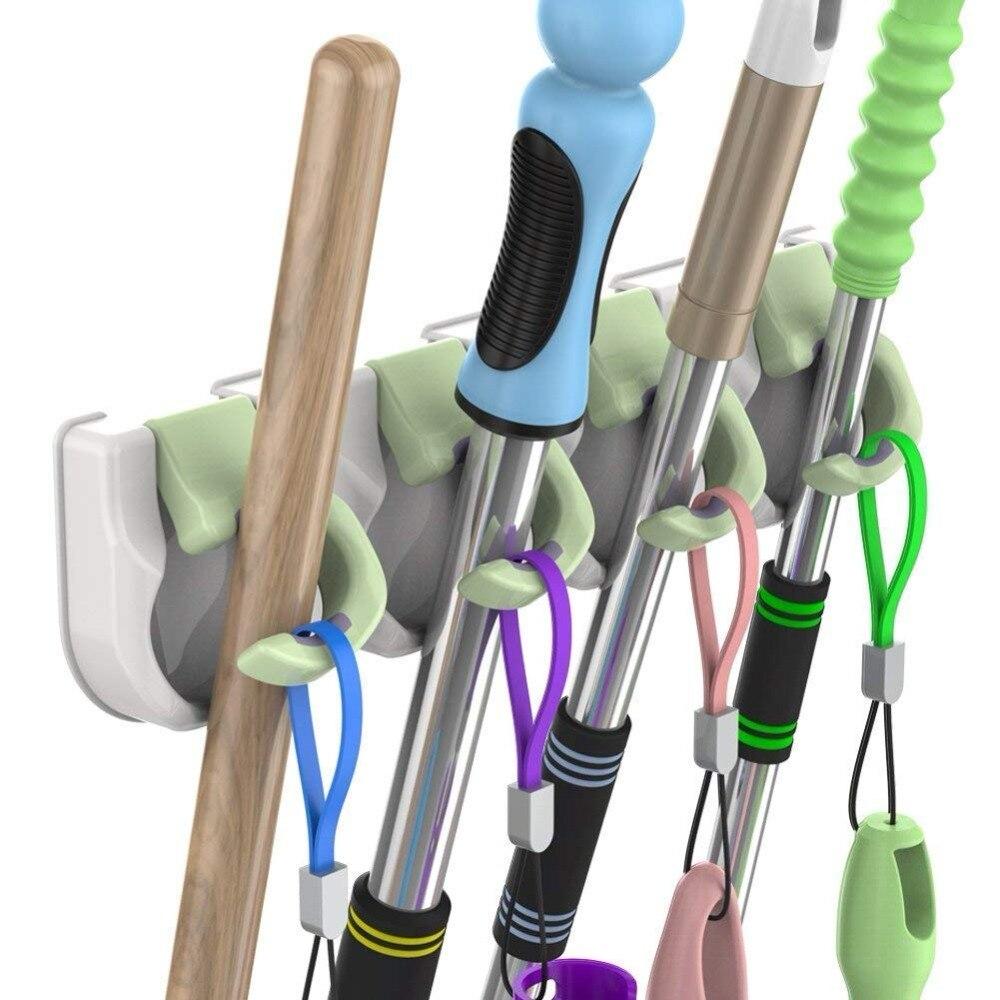 Supporto di Nessuna Perforazione Mop e Scopa scopa Supporto Auto Adesivo di Plastica Della Parete Montato Su Rack Scopa Organizer 4 Posizioni e 4 ganci