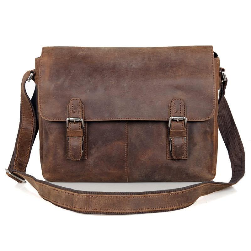 Vintage Crazy Horse Leather Men Shoulder bag Genuine Leather Messenger Bag  men Crossbody Bag Sling Leisure Bag Casual Brown
