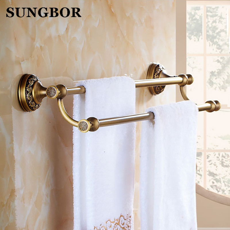 Antique Brass Towel Bar Copper Double Towel Bar Wall Mounted Antique/ Black Towel Rail Retro Bathroom Accessories ZL-8511F high quality towel racks brass 50 60cm antique towel rail copper wall mounted towel bar bathroom f503