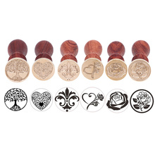 WCIC Brass Head Sealing Stamp Wood Handle Sealing Wax Stamp for Scrapbooking Christmas Stamps Wedding Invitation Wax Seal Stamp 1x wax seal stamp retro wood classic sealing wax seal stamp decorative rose tree of life wedding invitation antique stamp