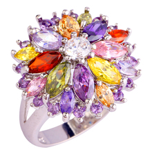 lingmei Wholesale Peridot Garnet Citrine Amethyst Multi-Color Silver Ring Size 6 7 8 9 10 11 12 13 Women Jewelry Flower Design
