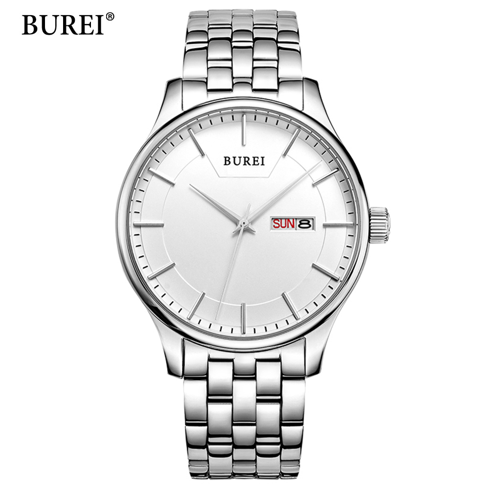 BUREI Mens Watches Top Brand Luxury Men Quartz Analog Clock Stainless steel Strap Watches Waterproof Relogios Masculino 2018 New dom men watch top luxury men quartz analog clock leather steel strap watches hours complete calendar relogios masculino m 11