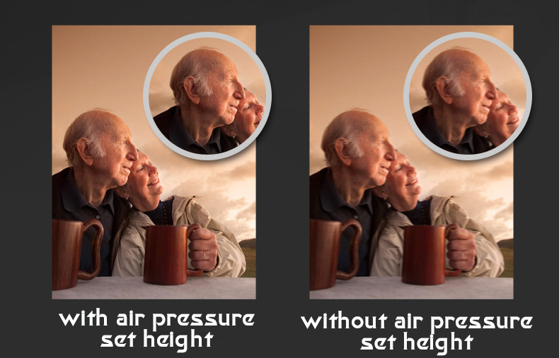 with and without air pressure