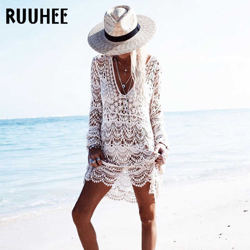 27e018135ebdb RUUHEE Beach Dress Cover Up Bikini Crochet Knitted Tassel Beachwear Summer  Swimsuit Cover Up Sexy See