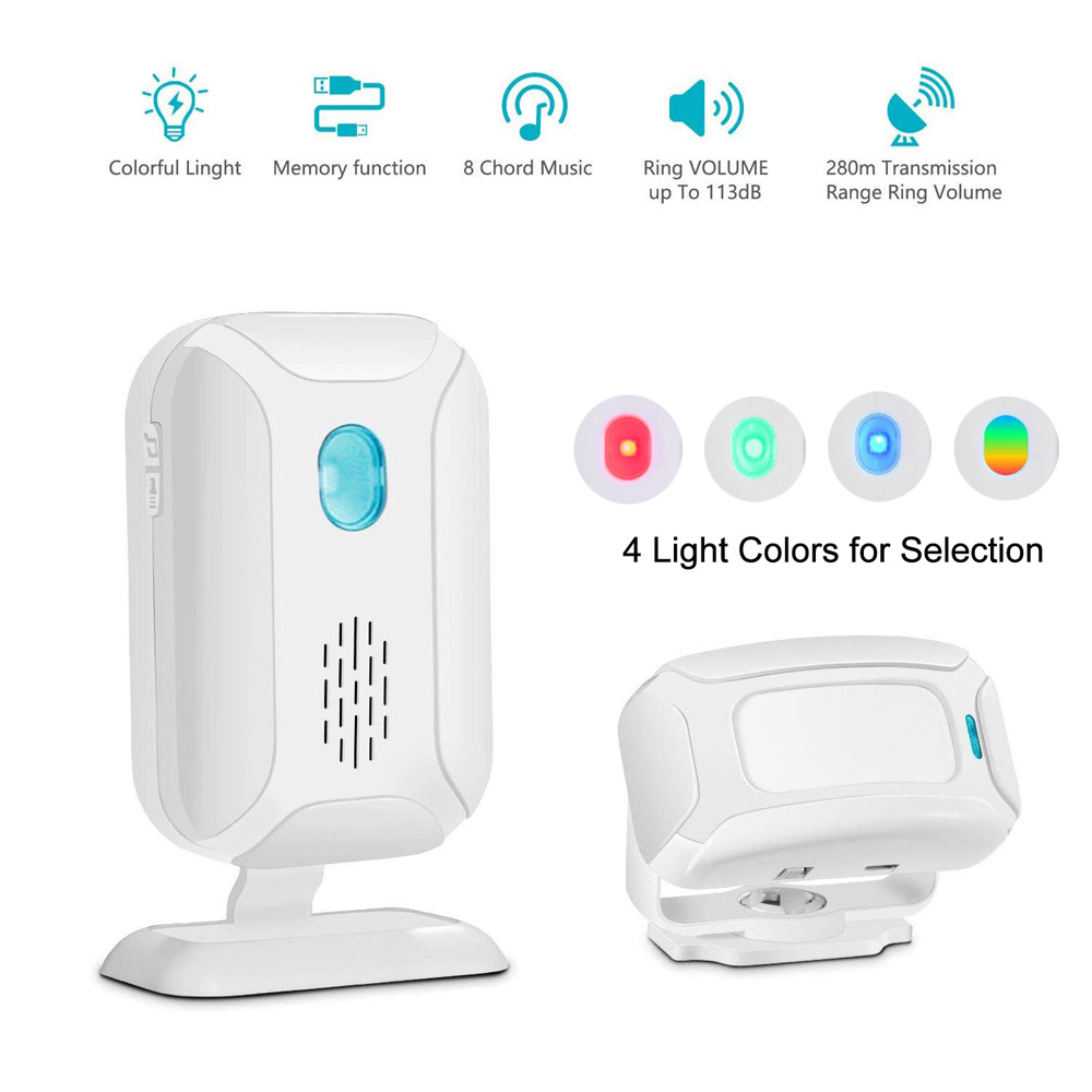 Shop Store Home Welcome Doorbell Door Chime Mailbox Alert Driveway Alarm Motion Sensor Detector Voice Reminder With Night Light