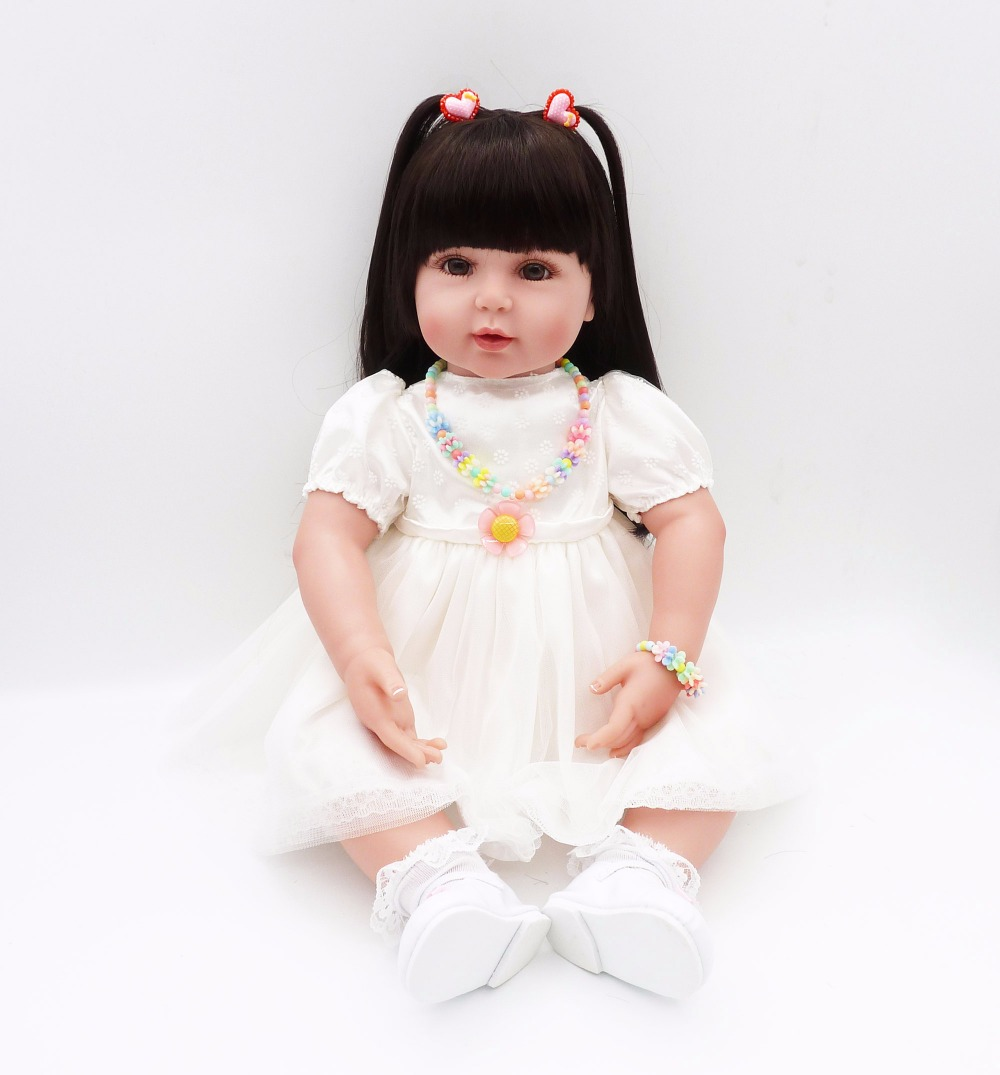 silicone reborn baby soft body dolls girls 61cm mini princess 2017 preemie for Children's Day gift for kid 24'' white dress toys white cami bodycon mini dress